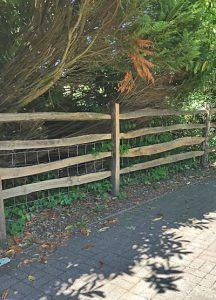 Four rail chestnut wood fencing